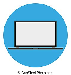Stylish Laptop icon on a blue background. vector illustration