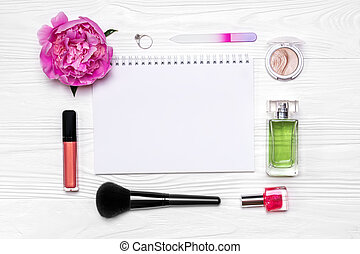 Stylish layout of cosmetics and accessories