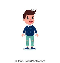Stylish little kid wearing casual clothes blue sweater with shirt and ragged jeans. Cartoon boy character with happy face expression. Flat vector design
