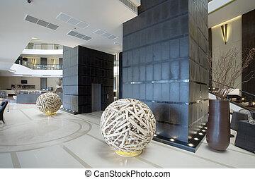 Panoramic view of nice modern stylish building lobby interior