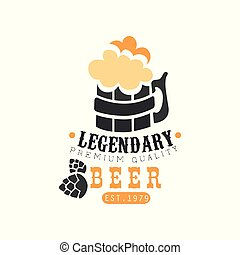 Stylish logo design with mug of legendary beer with foam. Alcoholic beverage. Black and orange vector emblem for brewing company, pub or bar