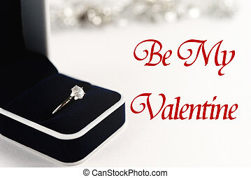 stylish luxury ring, be my valentine text, greeting card concept