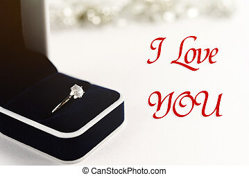 stylish luxury ring,  i love  you text, greeting card concept