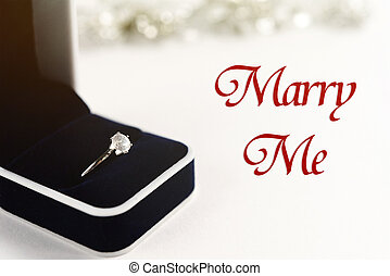 stylish luxury ring, will you marry me text, greeting card concept