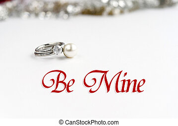 stylish luxury rings, be mine text, greeting card concept