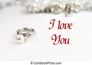 stylish luxury rings, i love you text, greeting card concept