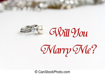 stylish luxury rings, will you marry me text, greeting card concept