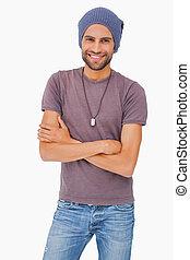 Stylish man wearing beanie hat