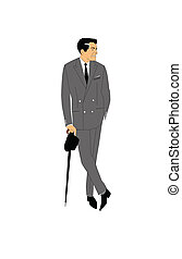 stylish man with umbrella