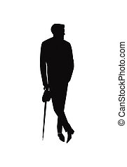 stylish man with umbrella - silhouette of man in suit...