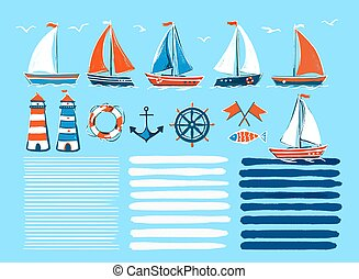 Stylish marine cartoon hand-drawn set of sailboats. Vector illustration on an isolated background - marine elements for your design.