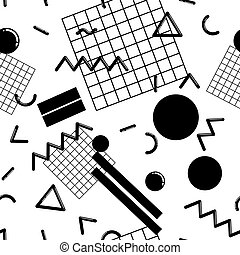 Stylish and fashionable seamless pattern vector design with abstract geometric shapes, repeating tiled background, 80s-90s style trendy design element for web and print.