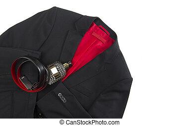 Stylish mens jacket and matching leather belt