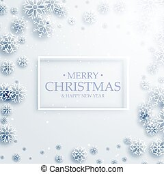 stylish merry christmas greeting card design with white snowflakes