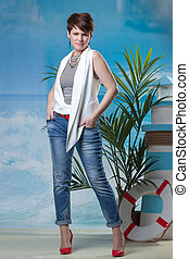 Stylish middle aged model posing in studio
