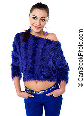 Gorgeous young midriff girl in glamorous attire