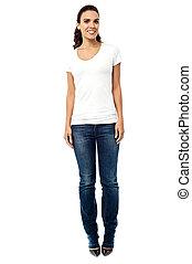 Stylish mixed race woman  posing casually