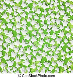 Stylish modern background seamless pattern with  butterflies cutting paper on green floral background.