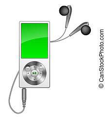 mp3 player - stylish mp3 player on white background; ...