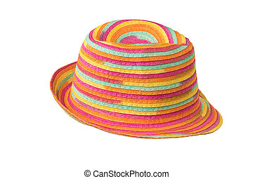 Stylish multi-colored summer sun hat isolated on a white background.