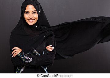 stylish Muslim woman on black background