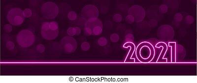 Stylish neon 2021 purple bokeh lights background