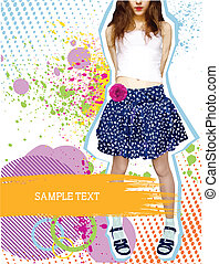 Stylish nice girl in fashion clothes on white with grunge decoration