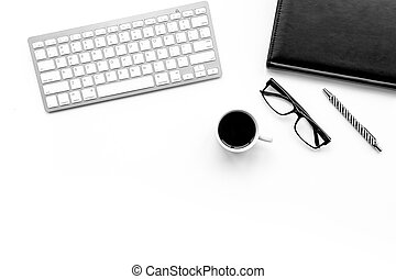 Stylish office desk. Trendy monochrome. Black accessories on white background top view.