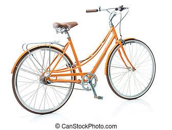 Stylish orange bicycle isolated on white background -...
