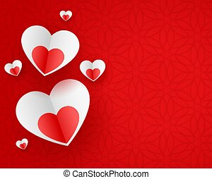 stylish paper hearts on red background design