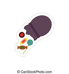 stylish paper sticker on a white background Candy in bag
