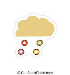 stylish paper sticker on a white background cloud and donuts