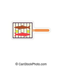 stylish paper sticker on a white background grilled fish