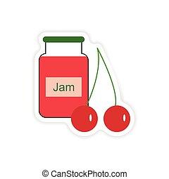 stylish paper sticker on white background Bank cherry jam