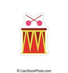 stylish paper sticker on white background Brazilian drum