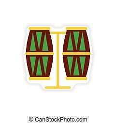 stylish paper sticker on white background Brazilian drums
