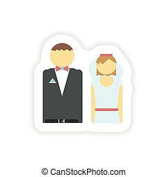 stylish paper sticker on white background bride and groom
