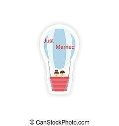 stylish paper sticker on white background Bride Groom air balloon