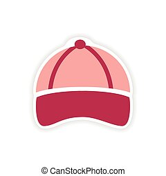 stylish paper sticker on white background cap