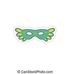 stylish paper sticker on white background carnival mask
