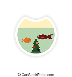 stylish paper sticker on white background Christmas tree and fish