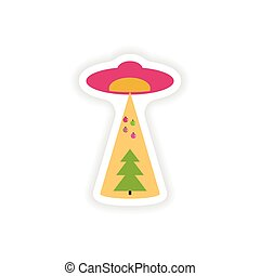 stylish paper sticker on white background Christmas tree