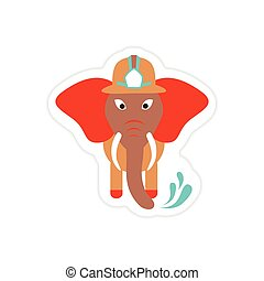 stylish paper sticker on white background elephant firefighter