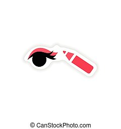 stylish paper sticker on white background Eyeliner