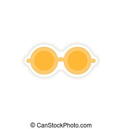 stylish paper sticker on white background glasses