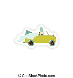 stylish paper sticker on white background groom and bride car