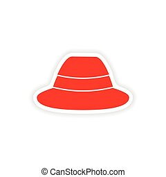 stylish paper sticker on white background hat