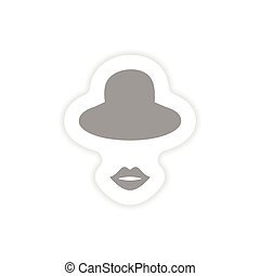 stylish paper sticker on white background hat lips