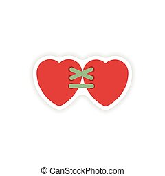 stylish paper sticker on white background hearts