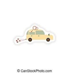 stylish paper sticker on white background Honeymoon car
